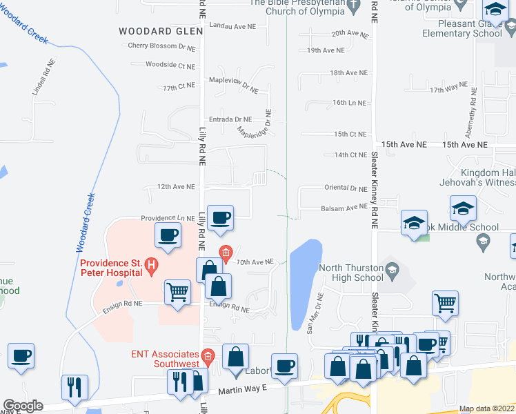 map of restaurants, bars, coffee shops, grocery stores, and more near 606 Lilly Road Northeast in Olympia