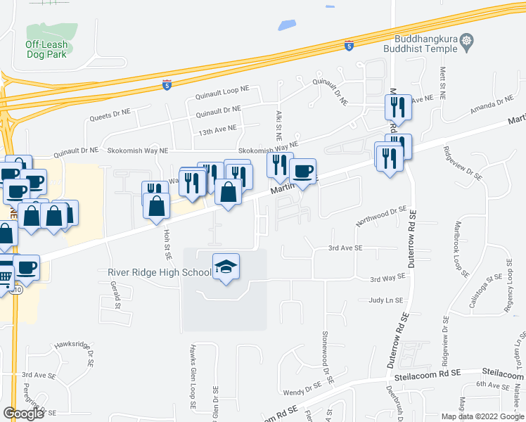 map of restaurants, bars, coffee shops, grocery stores, and more near 220 River Ridge Drive Southeast in Lacey