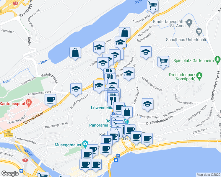 map of restaurants, bars, coffee shops, grocery stores, and more near 66 Zürichstrasse in Luzern