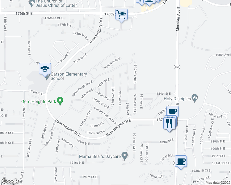 map of restaurants, bars, coffee shops, grocery stores, and more near 18437 95th Avenue Court East in Puyallup