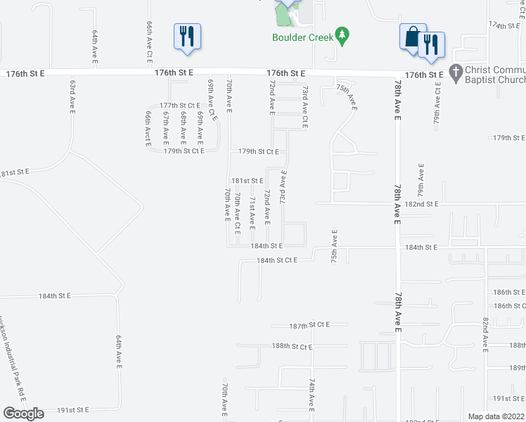 map of restaurants, bars, coffee shops, grocery stores, and more near 18224 72nd Avenue East in Puyallup