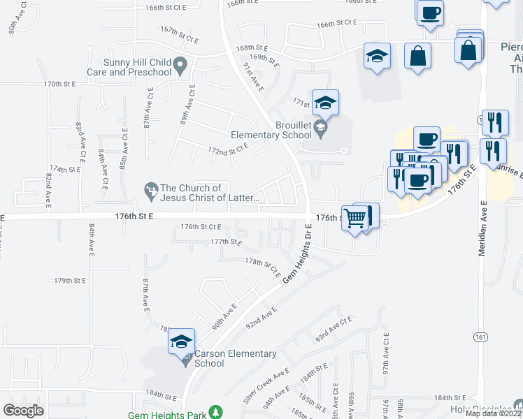 map of restaurants, bars, coffee shops, grocery stores, and more near 9202 175th Street Court East in Puyallup