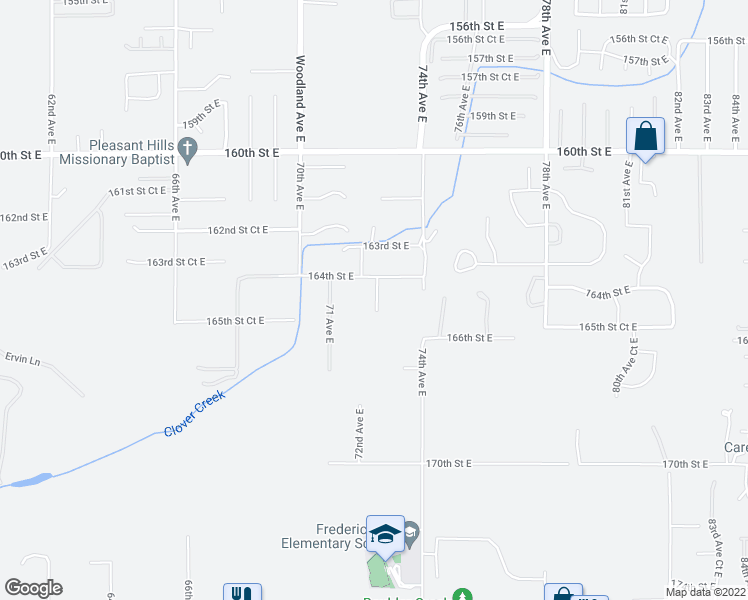 map of restaurants, bars, coffee shops, grocery stores, and more near 16420 72nd Avenue Court East in Puyallup