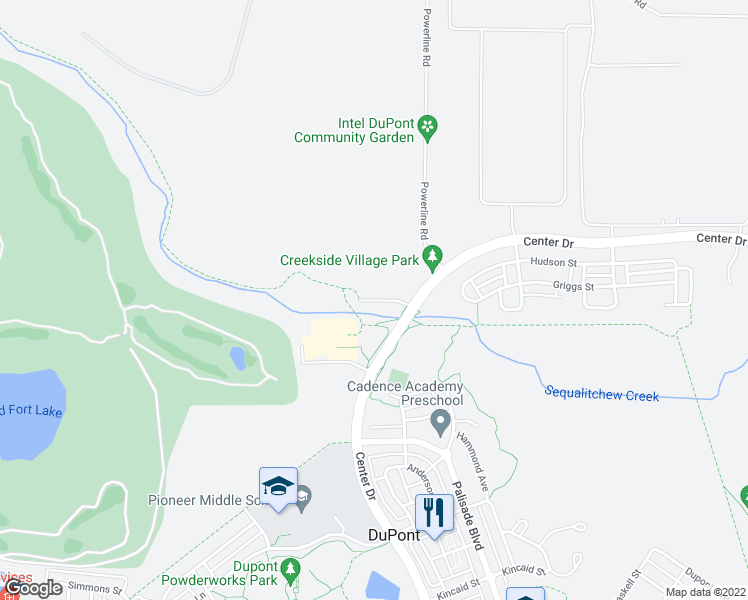 map of restaurants, bars, coffee shops, grocery stores, and more near 1630 Sequalitchew Drive in DuPont