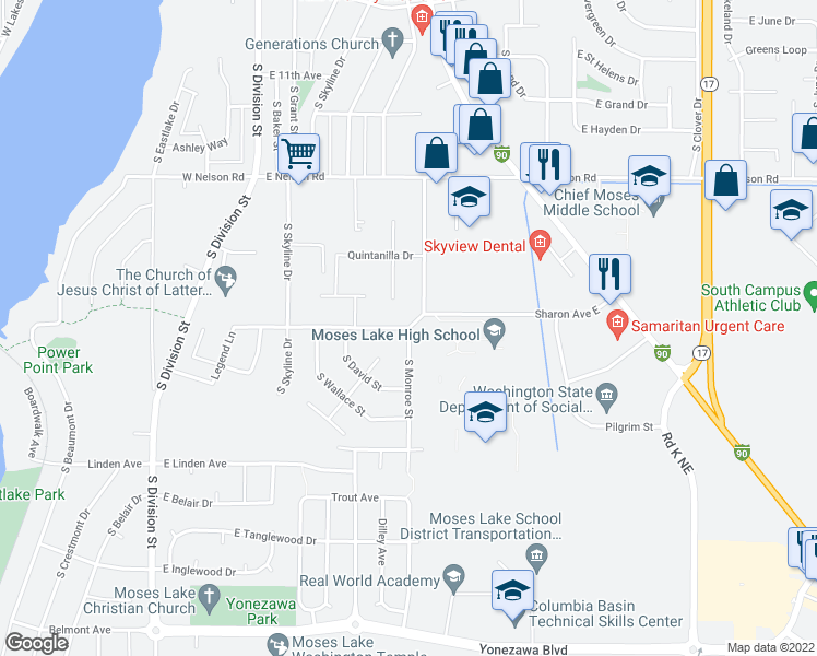 map of restaurants, bars, coffee shops, grocery stores, and more near 599 Sharon Avenue East in Moses Lake