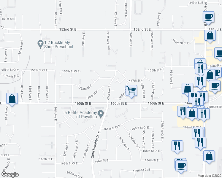 map of restaurants, bars, coffee shops, grocery stores, and more near 9201 159th Street Court East in Puyallup
