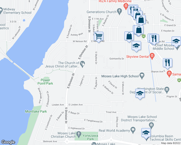map of restaurants, bars, coffee shops, grocery stores, and more near 304 Sharon Avenue East in Moses Lake