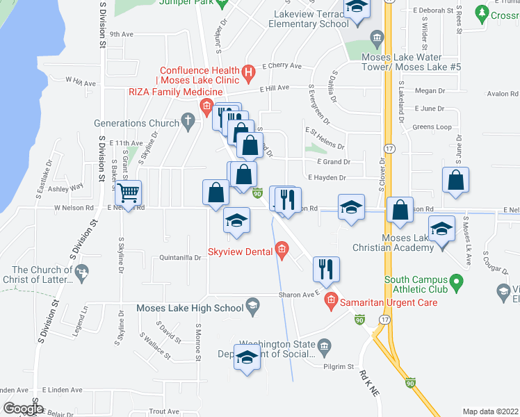 map of restaurants, bars, coffee shops, grocery stores, and more near East Nelson Road in Moses Lake