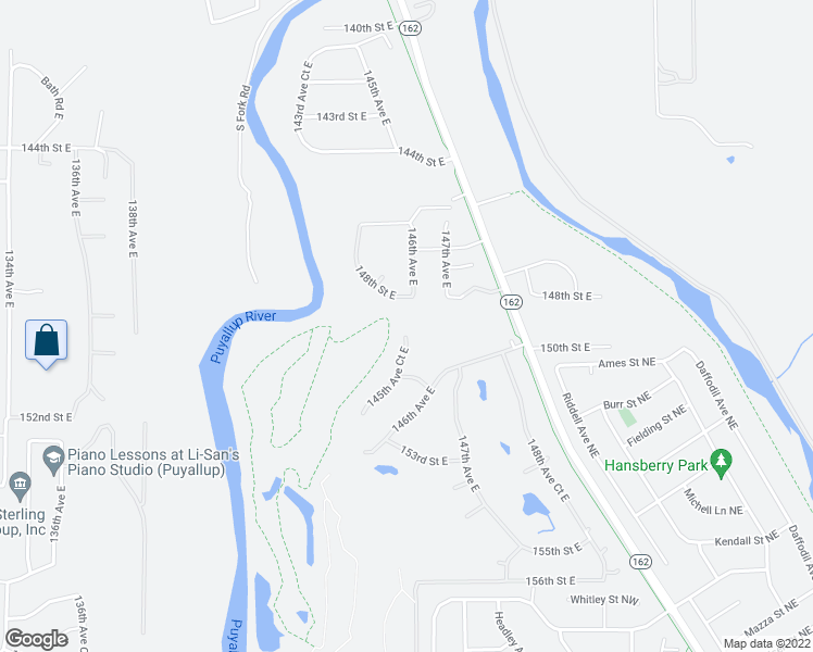 map of restaurants, bars, coffee shops, grocery stores, and more near 14802 145th Avenue Court East in Orting