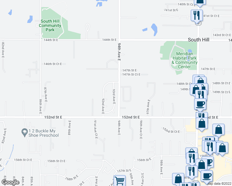 map of restaurants, bars, coffee shops, grocery stores, and more near 14909 93rd Avenue East in Puyallup