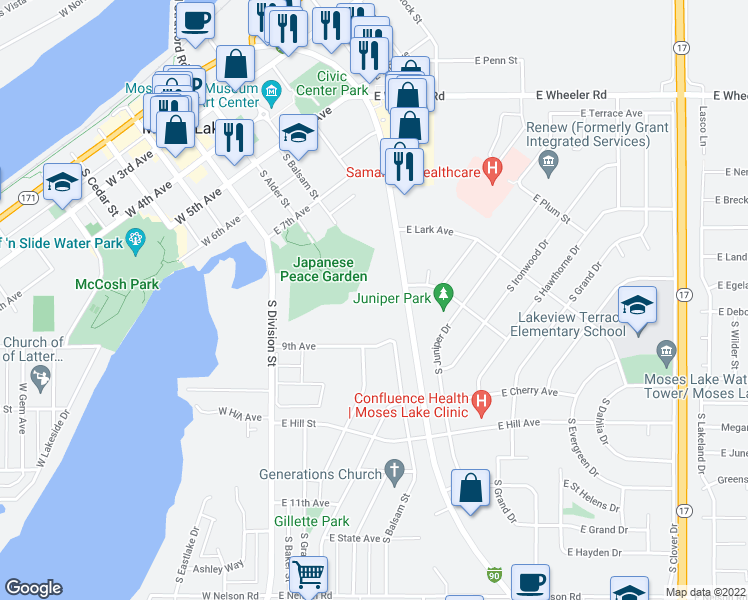 map of restaurants, bars, coffee shops, grocery stores, and more near 800-898 South Pioneer Way in Moses Lake