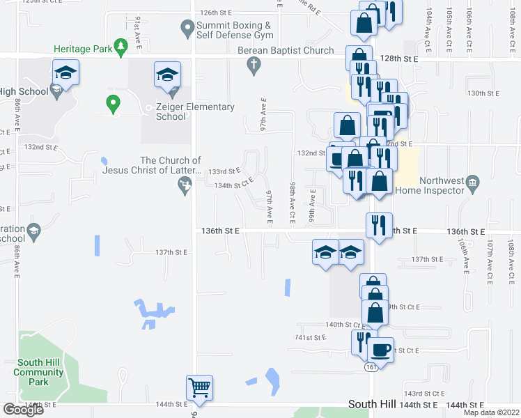 map of restaurants, bars, coffee shops, grocery stores, and more near 13503 97th Avenue East in Puyallup