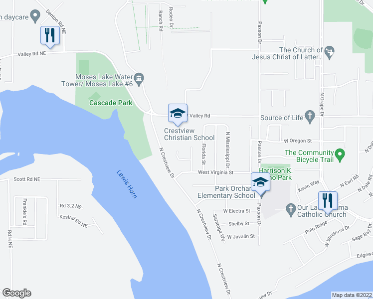 map of restaurants, bars, coffee shops, grocery stores, and more near 526 Monarch Street in Moses Lake