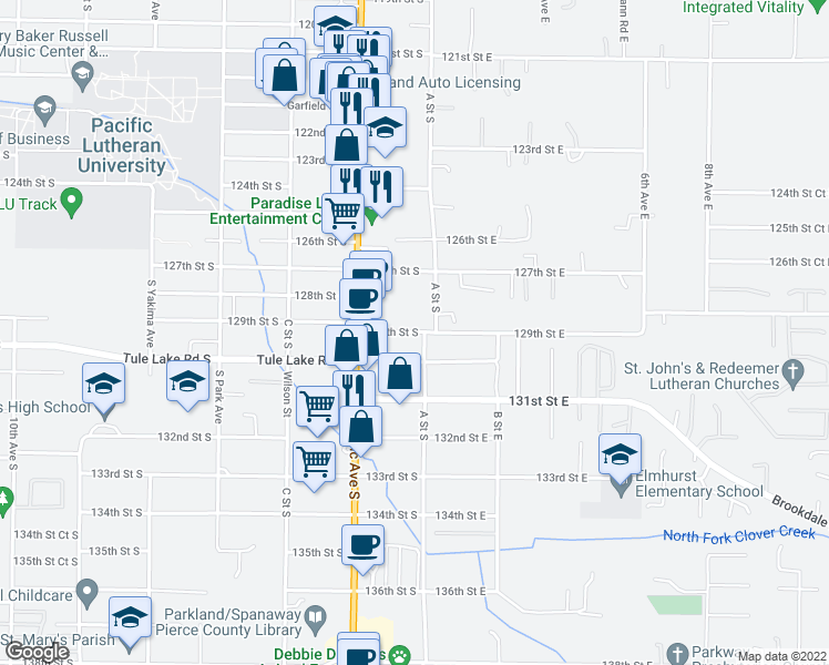 map of restaurants, bars, coffee shops, grocery stores, and more near 111-121 129th Street South in Tacoma