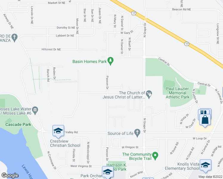 map of restaurants, bars, coffee shops, grocery stores, and more near 1217 West Franklin Street in Moses Lake