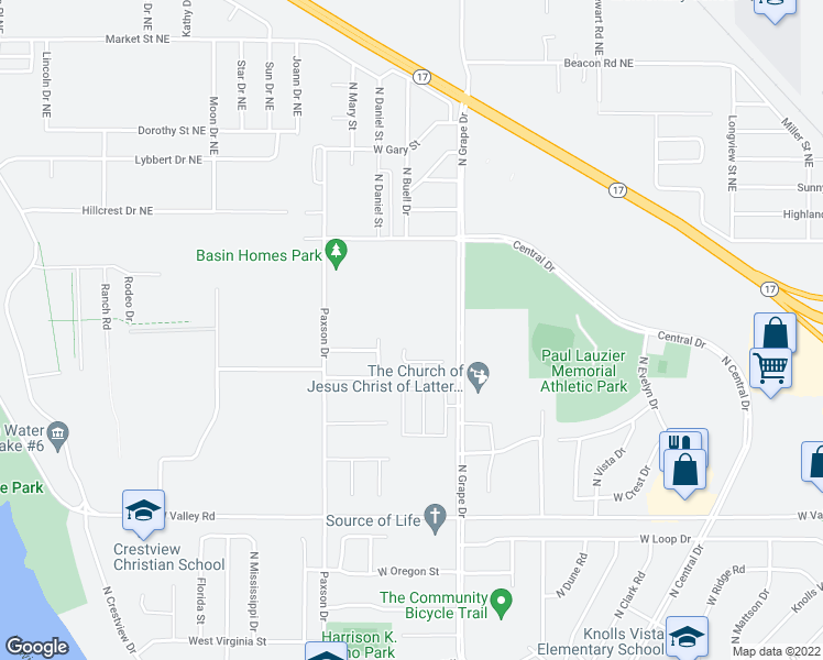 map of restaurants, bars, coffee shops, grocery stores, and more near 1133 North Grape Drive in Moses Lake
