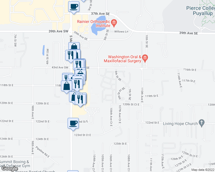 map of restaurants, bars, coffee shops, grocery stores, and more near 502 43rd Avenue Southeast in Puyallup