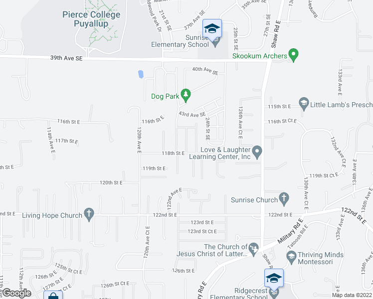 map of restaurants, bars, coffee shops, grocery stores, and more near 13118 123rd Avenue East in Puyallup
