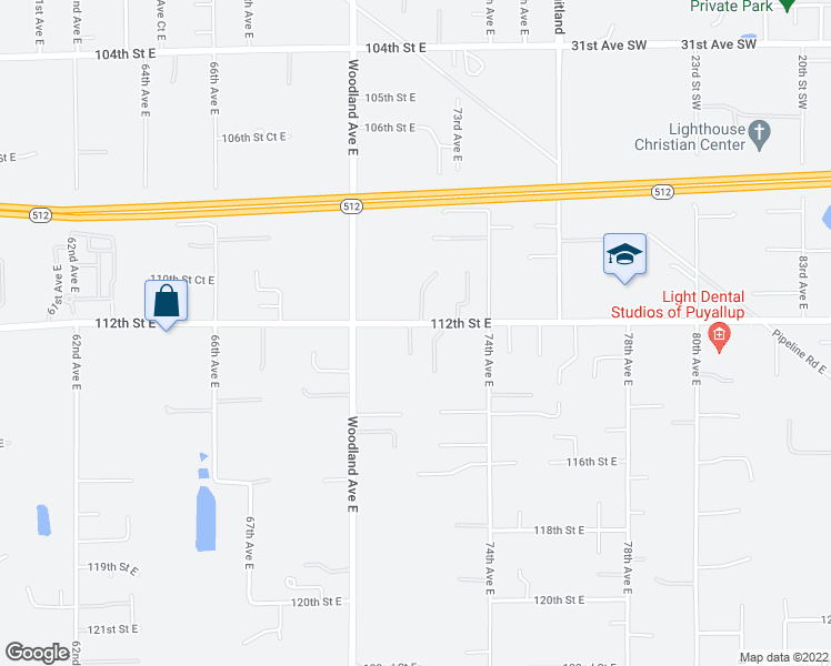 map of restaurants, bars, coffee shops, grocery stores, and more near 11207 71st Avenue Court East in Puyallup