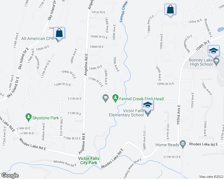 map of restaurants, bars, coffee shops, grocery stores, and more near 11025 185th Avenue East in Bonney Lake