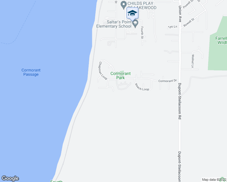 map of restaurants, bars, coffee shops, grocery stores, and more near 38 West Shore Court in Steilacoom