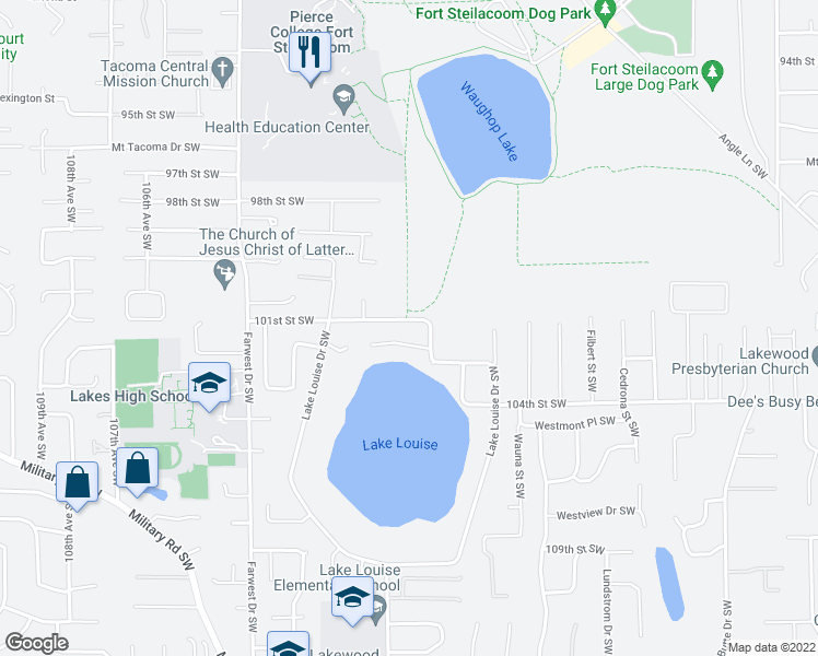 map of restaurants, bars, coffee shops, grocery stores, and more near 62A Lake Louise Drive Southwest in Lakewood