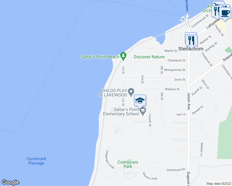 map of restaurants, bars, coffee shops, grocery stores, and more near 706 1st Street in Steilacoom