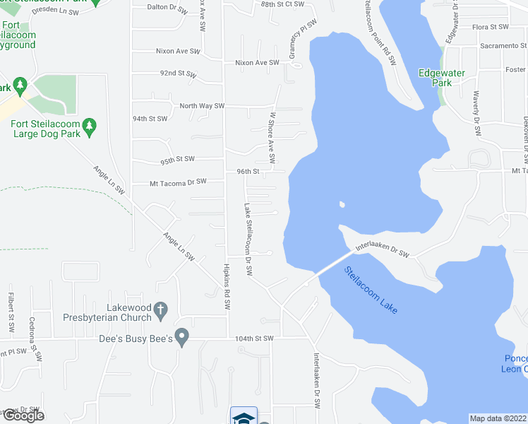 map of restaurants, bars, coffee shops, grocery stores, and more near 9729 Lake Steilacoom Drive Southwest in Lakewood