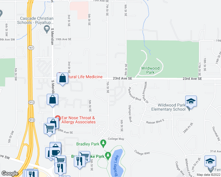 map of restaurants, bars, coffee shops, grocery stores, and more near 2323 7th Street Southeast in Puyallup