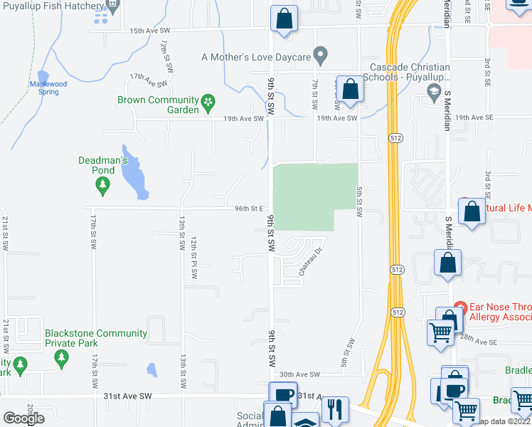 map of restaurants, bars, coffee shops, grocery stores, and more near 4018 9th Street Southwest in Puyallup