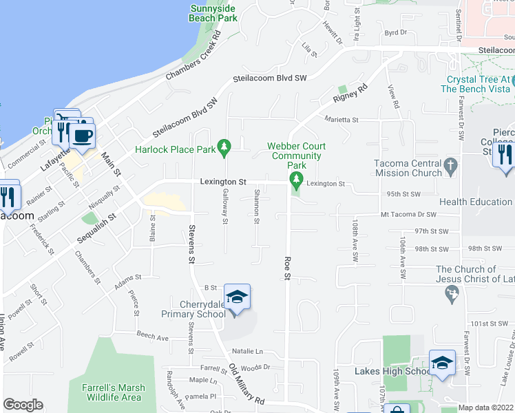 map of restaurants, bars, coffee shops, grocery stores, and more near 713 Shannon Street in Steilacoom