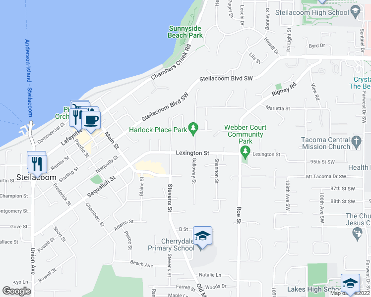 map of restaurants, bars, coffee shops, grocery stores, and more near 2417 Lexington Street in Steilacoom