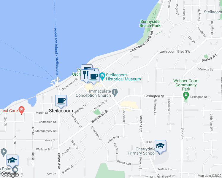 map of restaurants, bars, coffee shops, grocery stores, and more near 1806 Starling Street in Steilacoom