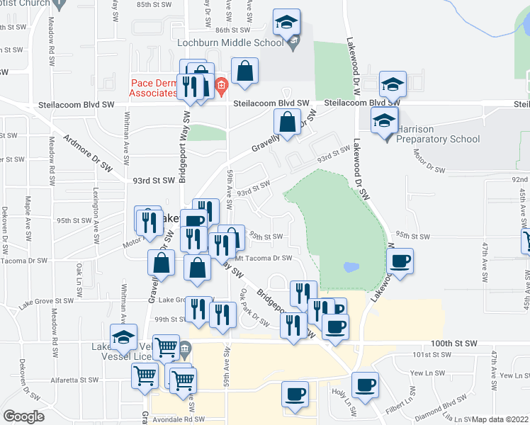 map of restaurants, bars, coffee shops, grocery stores, and more near 9501 59th Avenue Southwest in Lakewood