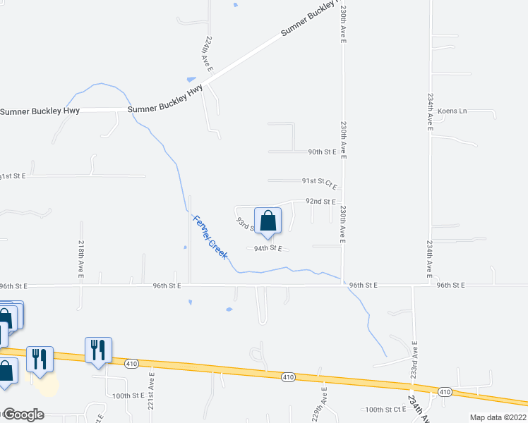 map of restaurants, bars, coffee shops, grocery stores, and more near 22529 225th Avenue East in Buckley