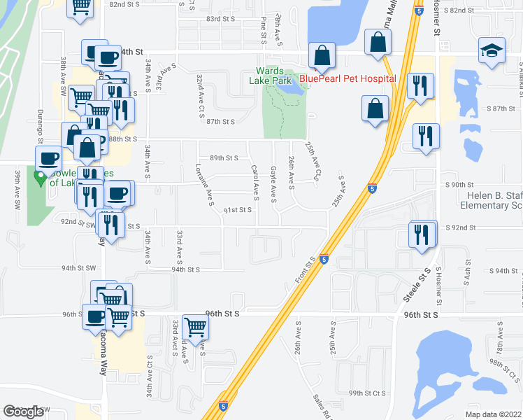 map of restaurants, bars, coffee shops, grocery stores, and more near 9035 Carol Avenue South in Lakewood