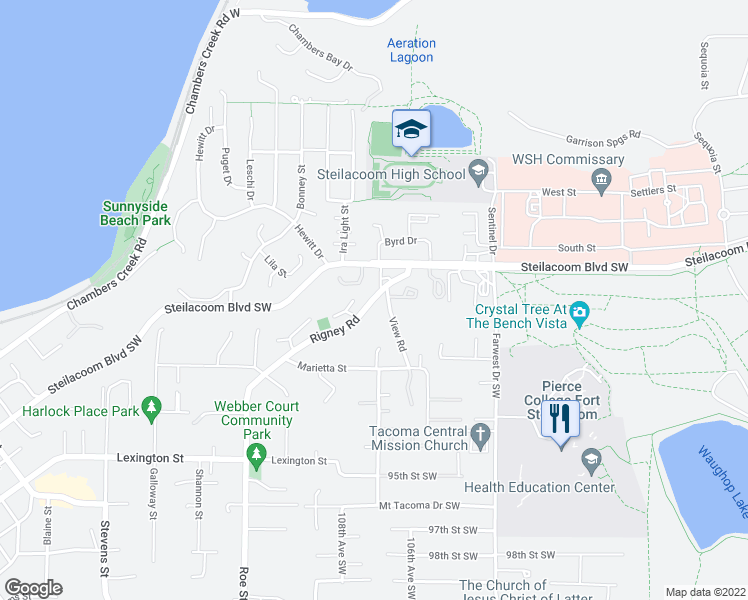 map of restaurants, bars, coffee shops, grocery stores, and more near 205 Rigney Road in Steilacoom