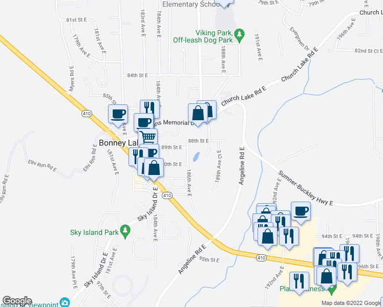 map of restaurants, bars, coffee shops, grocery stores, and more near 8806 186th Avenue East in Bonney Lake