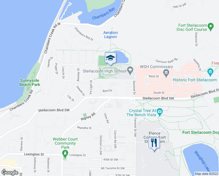 map of restaurants, bars, coffee shops, grocery stores, and more near 97 Byrd Drive in Steilacoom