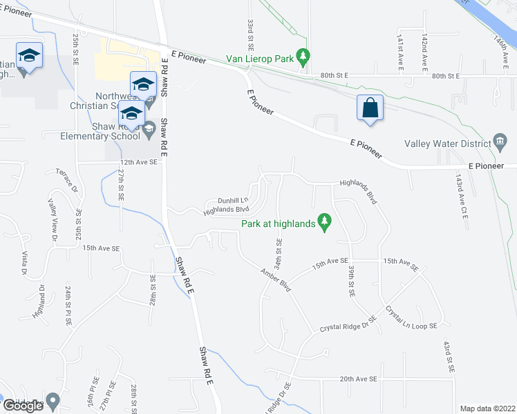 map of restaurants, bars, coffee shops, grocery stores, and more near 3214 Highlands Boulevard in Puyallup