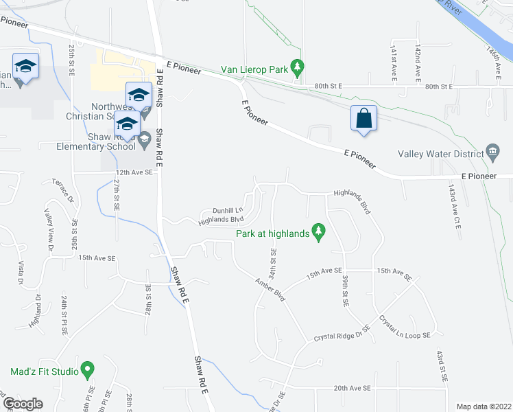 map of restaurants, bars, coffee shops, grocery stores, and more near 3224 Highlands Boulevard in Puyallup