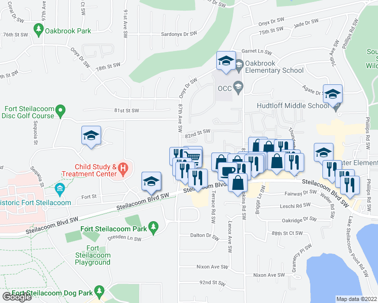map of restaurants, bars, coffee shops, grocery stores, and more near 8615 83rd Street Court Southwest in Lakewood