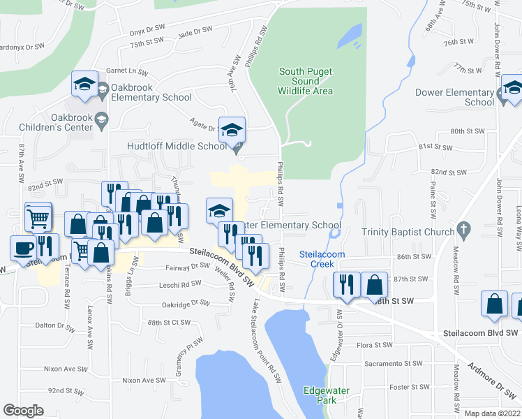 map of restaurants, bars, coffee shops, grocery stores, and more near 8300 Phillips Road Southwest in Tacoma