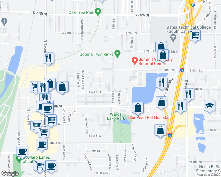 map of restaurants, bars, coffee shops, grocery stores, and more near 8219 29th Avenue Court South in Lakewood