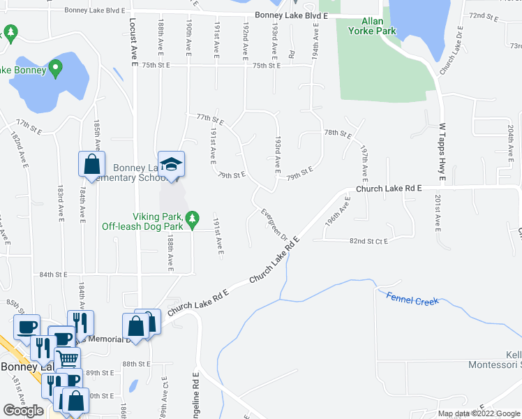 map of restaurants, bars, coffee shops, grocery stores, and more near 19205 Evergreen Drive in Bonney Lake
