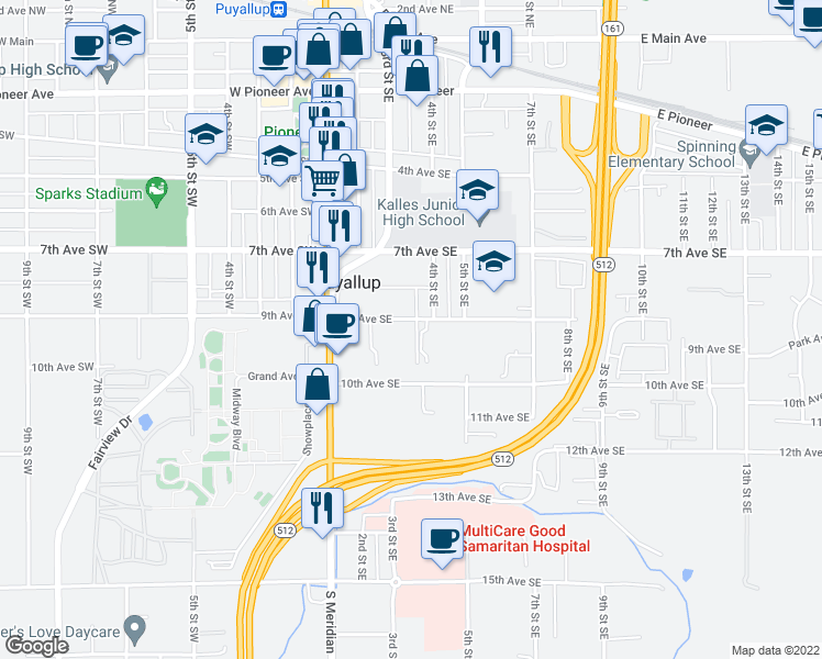 map of restaurants, bars, coffee shops, grocery stores, and more near 322 9th Avenue Southeast in Puyallup