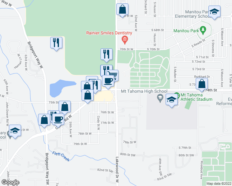 map of restaurants, bars, coffee shops, grocery stores, and more near 7410 Lakewood Drive West in Lakewood