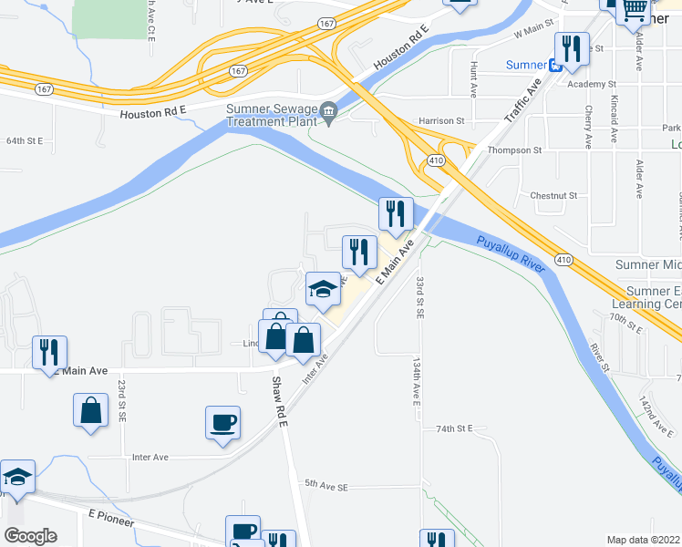 map of restaurants, bars, coffee shops, grocery stores, and more near 470-498 29th Street Northeast in Puyallup