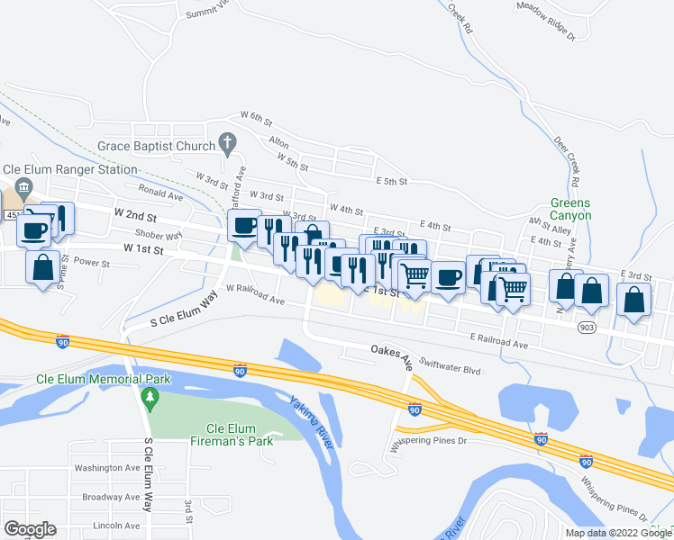 map of restaurants, bars, coffee shops, grocery stores, and more near in Cle Elum