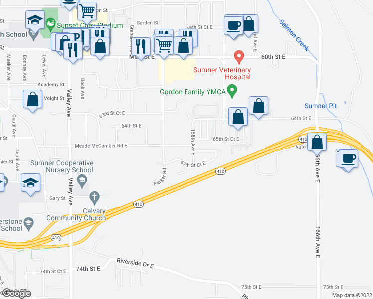 map of restaurants, bars, coffee shops, grocery stores, and more near 15716 Meade McCumber Road East in Sumner